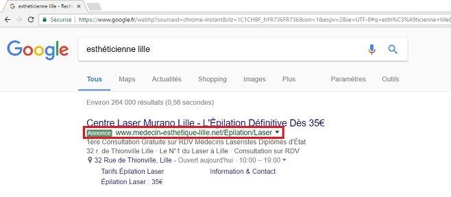 Exemple de site référencé grâce à Google AdWords