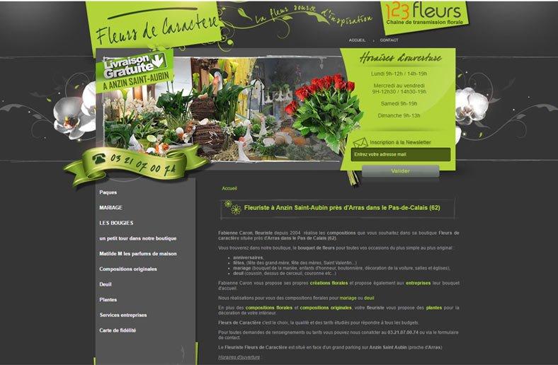 Fleurs de caractère, site réalisé par KREATIC